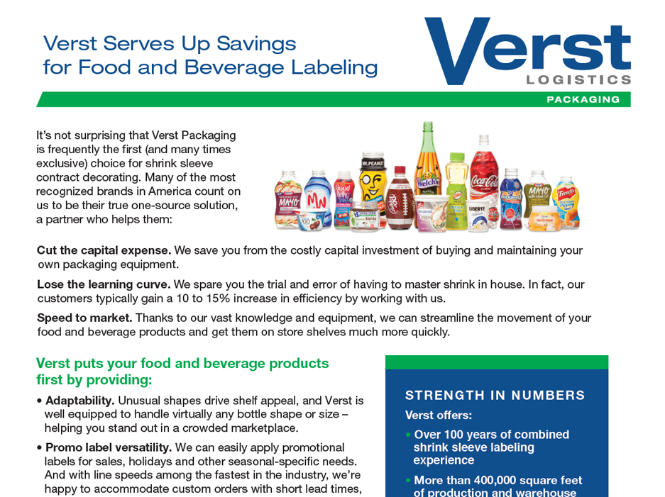 Savings for Food and Beverage Labeling